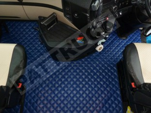 TRUCK ECO LEATHER FLOOR SET FIT MERCEDES ACTROS MP4 STREAMSPACE CAB -BLUE -WITH LIFTING PASSENGER SEAT