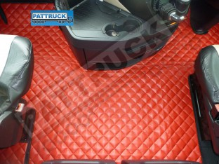 TRUCK ECO LEATHER FLOOR SET FIT MERCEDES ACTROS MP4 STREAMSPACE CAB -RED-WITH LIFTING PASSENGER SEAT