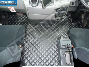 MAN TGS [NARROW CAB] TRUCK ECO LEATHER FLOOR MATS SET-BLACK - TILL67 PLATE