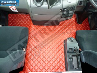 MAN TGS [ NARROW CAB ] TRUCK ECO LEATHER FLOOR MATS SET-RED - TILL 67 PLATE