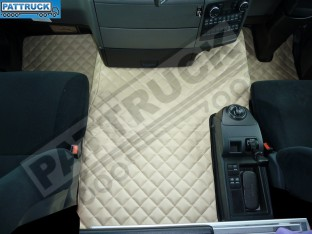 MAN TGS [ NARROW CAB ]TRUCK ECO LEATHER FLOOR MATS SET-BEIGE - TILL 67 PLATE