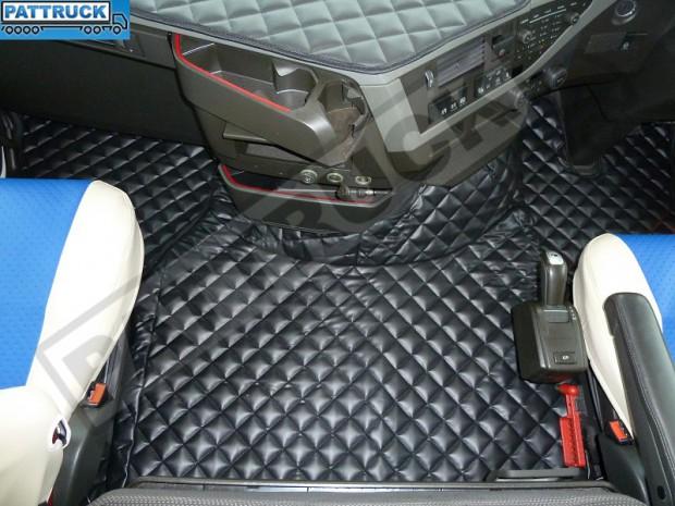 TRUCK ECO LEATHER FLOOR SET- COMPATIBLE WITH VOLVO FH 4 2013+[TWIN AIR SEATS] BLACK