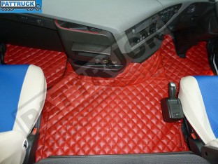 TRUCK ECO LEATHER FLOOR SET-RED ,COMPATIBLE WITH VOLVO FH 2013+AUTOMATIC-FOLDING PASSENGER SEAT