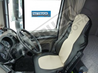 TRUCK ECO LEATHER SEAT COVERS FIT DAF XF 105 / CF 85 PAIR OF BLACK AND BEIGE