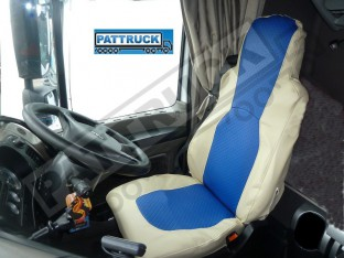TRUCK ECO LEATHER SEAT COVERS FIT DAF XF 105 / CF 85 PAIR OF BEIGE AND BLUE RED