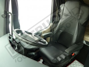 TRUCK ECO LEATHER SEATS COVER FIT MERCEDES ACTROS MP4 PAIR OF BLACK