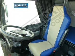 TRUCK ECO LEATHER SEAT COVERS FIT MAN TGX / TGA/ TGS PAIR OF BLUE AND BEIGE