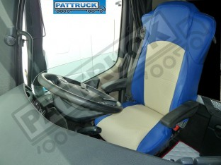 TRUCK ECO LEATHER SEAT COVERS FIT MERCEDES ACTROS MP4 PAIR OF BLUE AND BEIGE