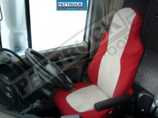 TRUCK SEAT COVERS FIT DAF XF 105 / CF 85 PAIR OF RED AND BEIGE