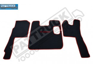 VELOUR [CARPET] FLOOR MATS SET-BLACK WITH RED TRIM FIT SCANIA R 2005-2009 MANUAL