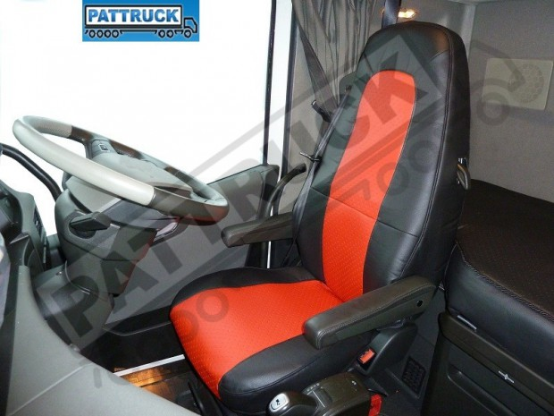 TRUCK ECO LEATHER SEAT COVERS COMPATIBLE WITH VOLVO FH4 2013+ (BLACK AND RED)