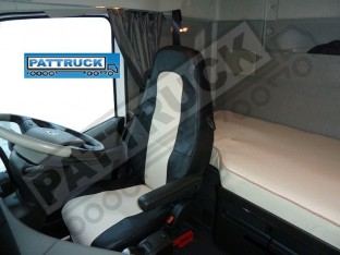 TRUCK ECO LEATHER SEAT COVERS COMPATIBLE WITH VOLVO FH4 2013+ (BLACK AND BEIGE)