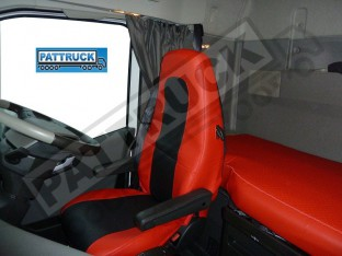 TRUCK ECO LEATHER SEAT COVERS COMPATIBLE WITH VOLVO FH4 2013+ (RED AND BLACK)