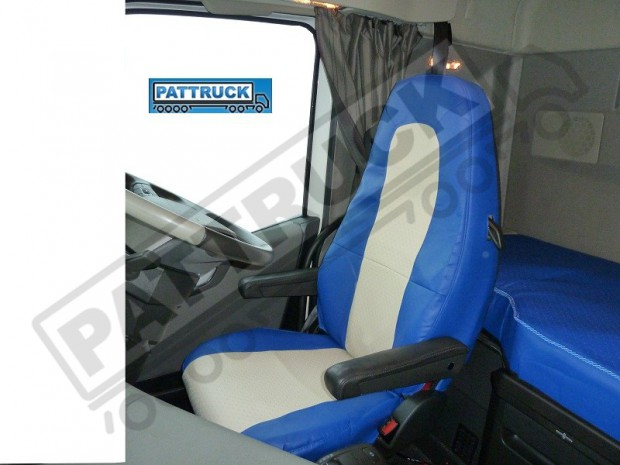 TRUCK ECO LEATHER SEAT COVERS COMPATIBLE WITH VOLVO FH4 2013+ (BLUE AND BEIGE )