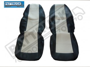 TRUCK ECO LEATHER SEAT COVERS COMPATIBLE WITH VOLVO FH2 2002-2007 (BLACK AND BEIGE )