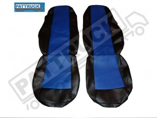 TRUCK ECO LEATHER SEAT COVERS COMPATIBLE WITH VOLVO FH2 2002-2007 (BLACK AND BLUE )