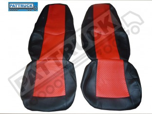 TRUCK ECO LEATHER SEAT COVERS COMPATIBLE WITH VOLVO FH2 2002-2007 (BLACK AND RED )
