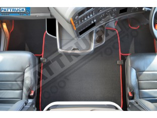 VELOUR [CARPET] FLOOR MATS SET-BLACK WITH RED TRIM FIT SCANIA R 2012-17 AUTOMATIC ,AIR SEATS