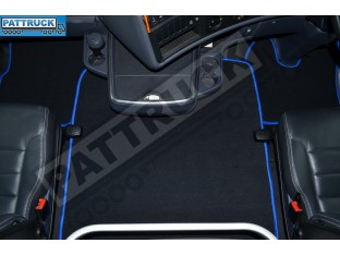 VELOUR [CARPET] FLOOR MATS SET-BLACK WITH BLUE TRIM FIT SCANIA R 2012-17 AUTOMATIC , AIR SEATS