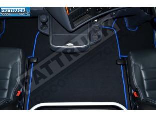 VELOUR [CARPET] FLOOR MATS SET-BLACK WITH BLUE TRIM FIT SCANIA R 2012-17 AUTOMATIC , AIR SEATS