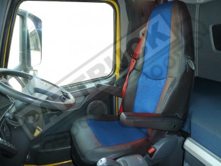 TRUCK ECO LEATHER SEAT COVER COMPATIBLE WITH VOLVO FH3 2008-2013 (BLACK AND BLUE )