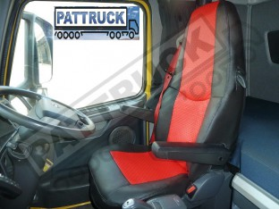 TRUCK ECO LEATHER SEAT COVER COMPATIBLE WITH VOLVO FH3 2008-2013 (BLACK AND RED )