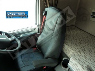 TRUCK ECO LEATHER SEAT COVERS FIT DAF XF 106 / CF EURO 6 PAIR OF BLACK