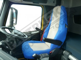 TRUCK SEAT COVERS COMPATIBLE WITH VOLVO FH3 2008-2013 BLUE AND BEIGE