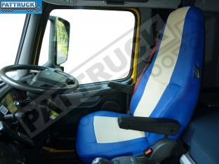 TRUCK ECO LEATHER SEAT COVER COMPATIBLE WITH VOLVO FH3 2008-2013 (BLUE AND BEIGE )