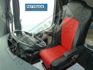 TRUCK ECO LEATHER SEAT COVERS FIT MERCEDES ACTROS MP4 PAIR OF BLACK AND RED