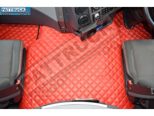TRUCK ECO LEATHER FLOOR SET-RED FIT RENAULT T RANGE WITH ENGINE HUMP