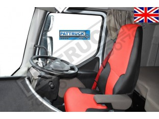 TRUCK ECO LEATHER SEAT COVERS FIT RENAULT PREMIUM PAIR OF BLACK AND RED