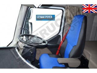 TRUCK ECO LEATHER SEAT COVERS FIT RENAULT PREMIUM PAIR OF BLACK AND BLUE