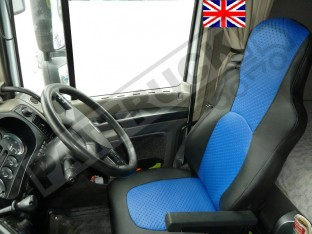 TRUCK ECO LEATHER SEAT COVERS FIT DAF XF 105 / CF 85 PAIR OF BLACK AND BLUE