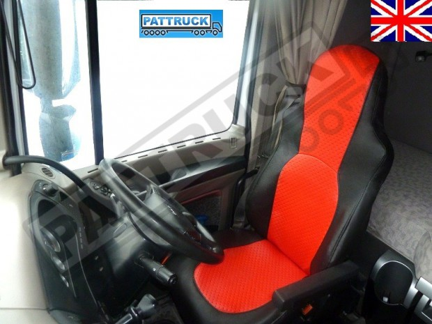 TRUCK ECO LEATHER SEAT COVERS FIT DAF XF 105 / CF 85 PAIR OF BLACK AND RED