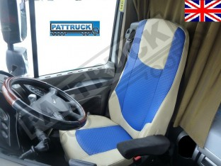TRUCK ECO LEATHER SEAT COVERS FIT DAF XF 106 / CF EURO 6 PAIR OF BEIGE AND BLUE