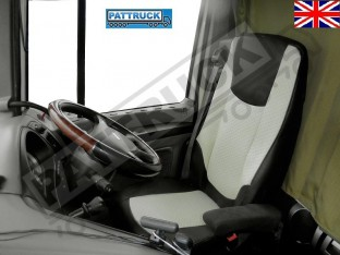 TRUCK ECO LEATHER SEAT COVERS FIT DAF XF 106 / CF EURO 6 PAIR OF BLACK AND BEIGE