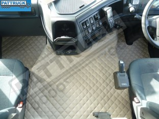 TRUCK ECO LEATHER FLOOR SET-BEIGE , COMPATIBLE WITH VOLVO FH3 2009-2013 AUTOMATIC-FOLDING PASSENGER SEAT
