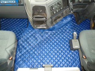 TRUCK ECO LEATHER FLOOR MATS SET-BLUE,COMPATIBLE WITH VOLVO FH3 2009-2013 AUTOMATIC-FOLDING PASSENGER SEAT
