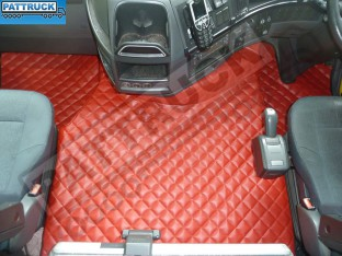 TRUCK ECO LEATHER FLOOR MATS SET-RED, COMPATIBLE WITH VOLVO FH3 2009-2013 AUTOMATIC-FOLDING PASSENGER SEAT