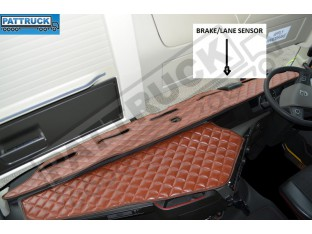 TRUCK ECO LEATHER DASH MAT WITH SPACE FOR SENSOR FIT VOLVO FH4 2013+ [ BROWN]