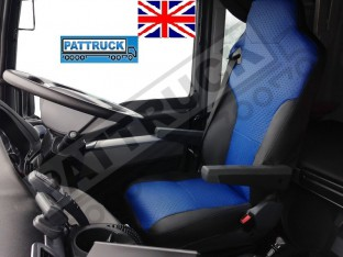 TRUCK ECO LEATHER SEAT COVERS FIT MAN TGX / TGA/ TGS PAIR OF BLACK AND BLUE