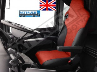TRUCK ECO LEATHER SEAT COVERS FIT MAN TGX / TGA/ TGS PAIR OF BLACK AND RED