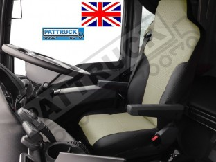 TRUCK ECO LEATHER SEAT COVERS FIT MAN TGX / TGA/ TGS PAIR OF BLACK AND BEIGE