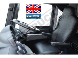 TRUCK ECO LEATHER SEAT COVERS FIT MAN TGX / TGA/ TGS PAIR OF BLACK