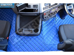 DAF CF EURO-6 AUTOMATIC - TRUCK ECO LEATHER FLOOR MATS SET-BLUE