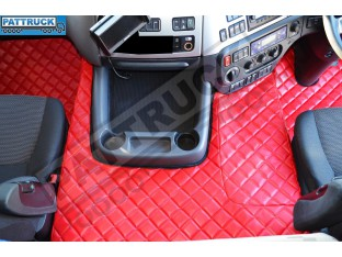 DAF CF EURO-6 AUTOMATIC- TRUCK ECO LEATHER FLOOR MATS SET-RED