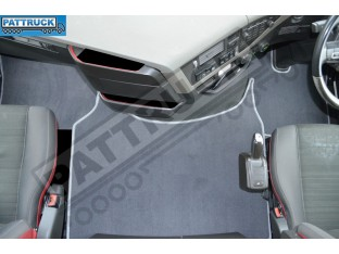 VELOUR FLOOR MATS SET-GREY -COMPATIBLE WITH VOLVO FH4 [TWIN AIR SEATS]