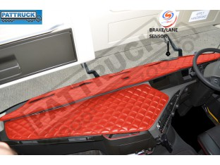 TRUCK ECO LEATHER DASH MAT WITH SPACE FOR SENSOR FIT VOLVO FH4 2013+[ RED]