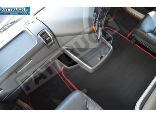 VELOUR [CARPET] FLOOR MATS SET-BLACK WITH RED TRIM FIT SCANIA R 2012-17 AUTOMATIC ,FOLDING PASSENGER SEAT